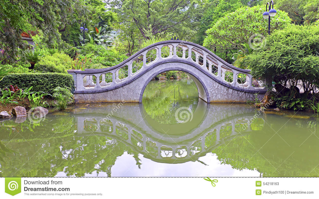 Arch Shape Stone Bridge In Garden Stock Image - Image of relaxation ...