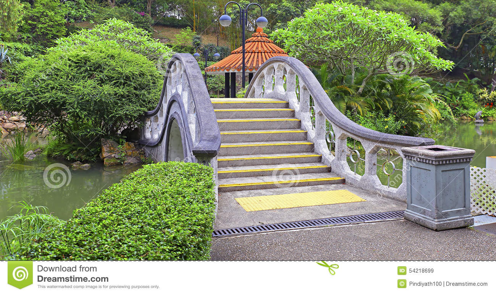 Arch Shape Stone Bridge In Garden Stock Image Image