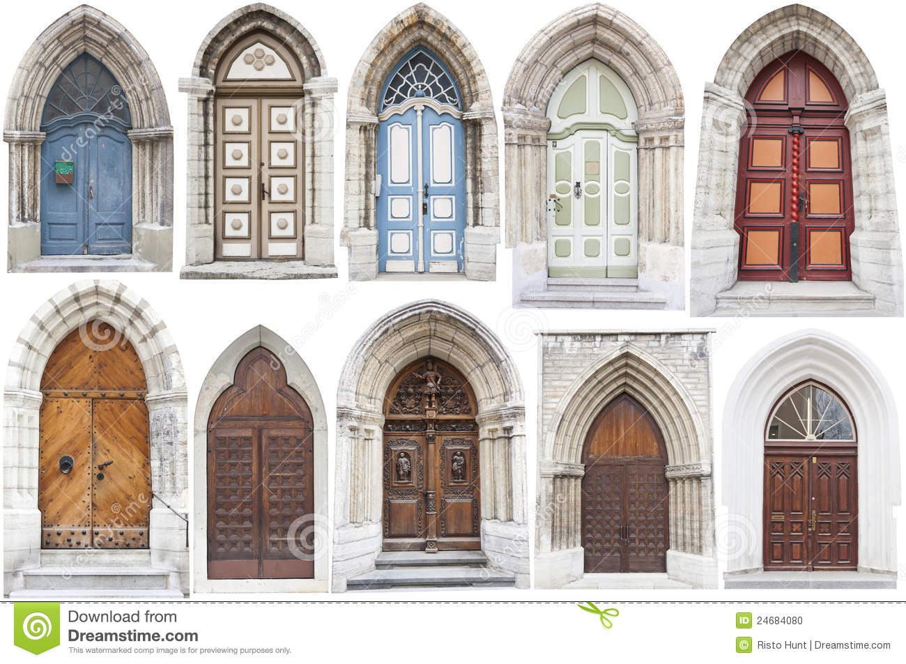 Arch style doors with limestone edges stock photo image for Different styles of doors