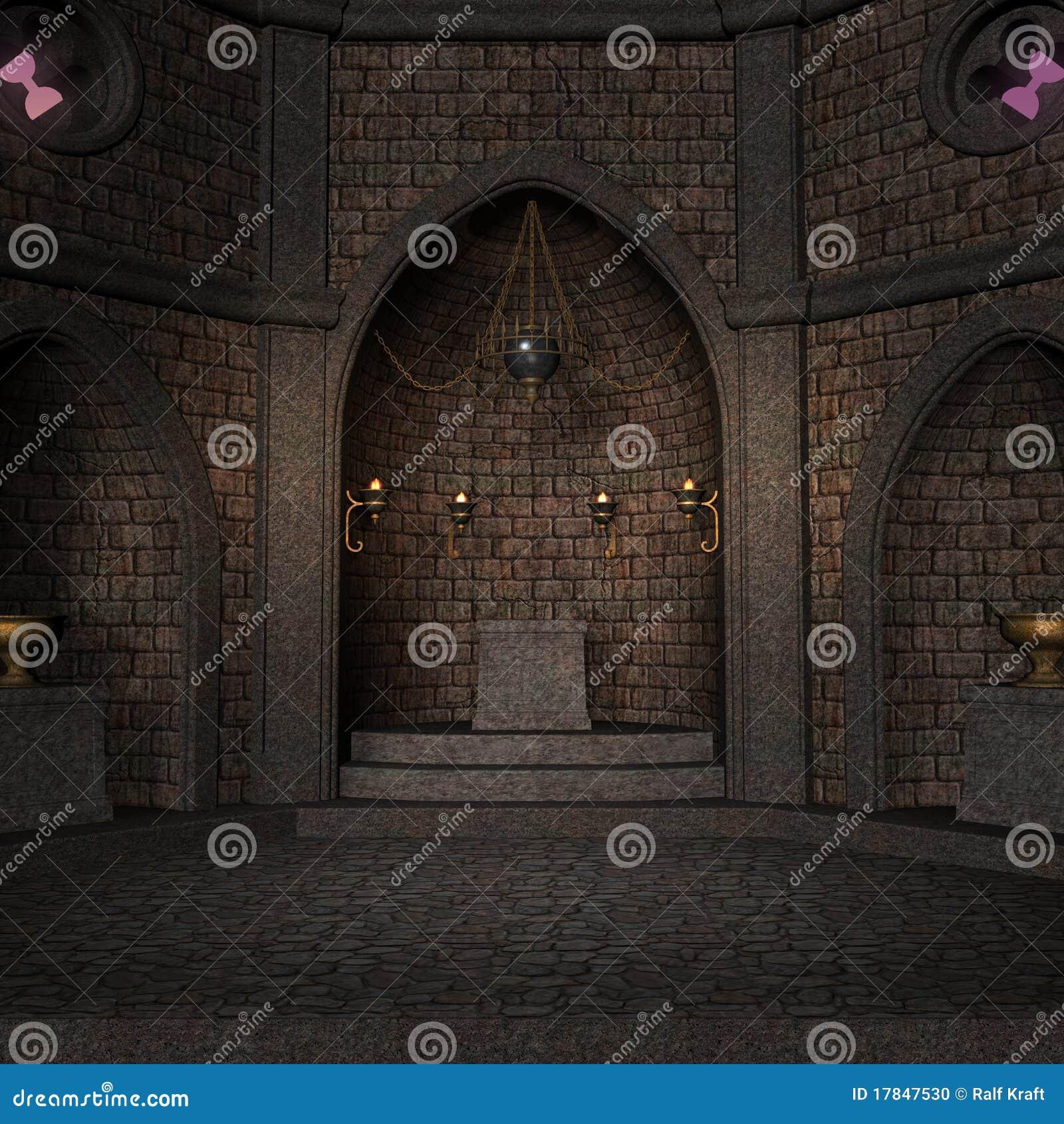 Archaïsch altaar of heiligdom in fantasie het plaatsen