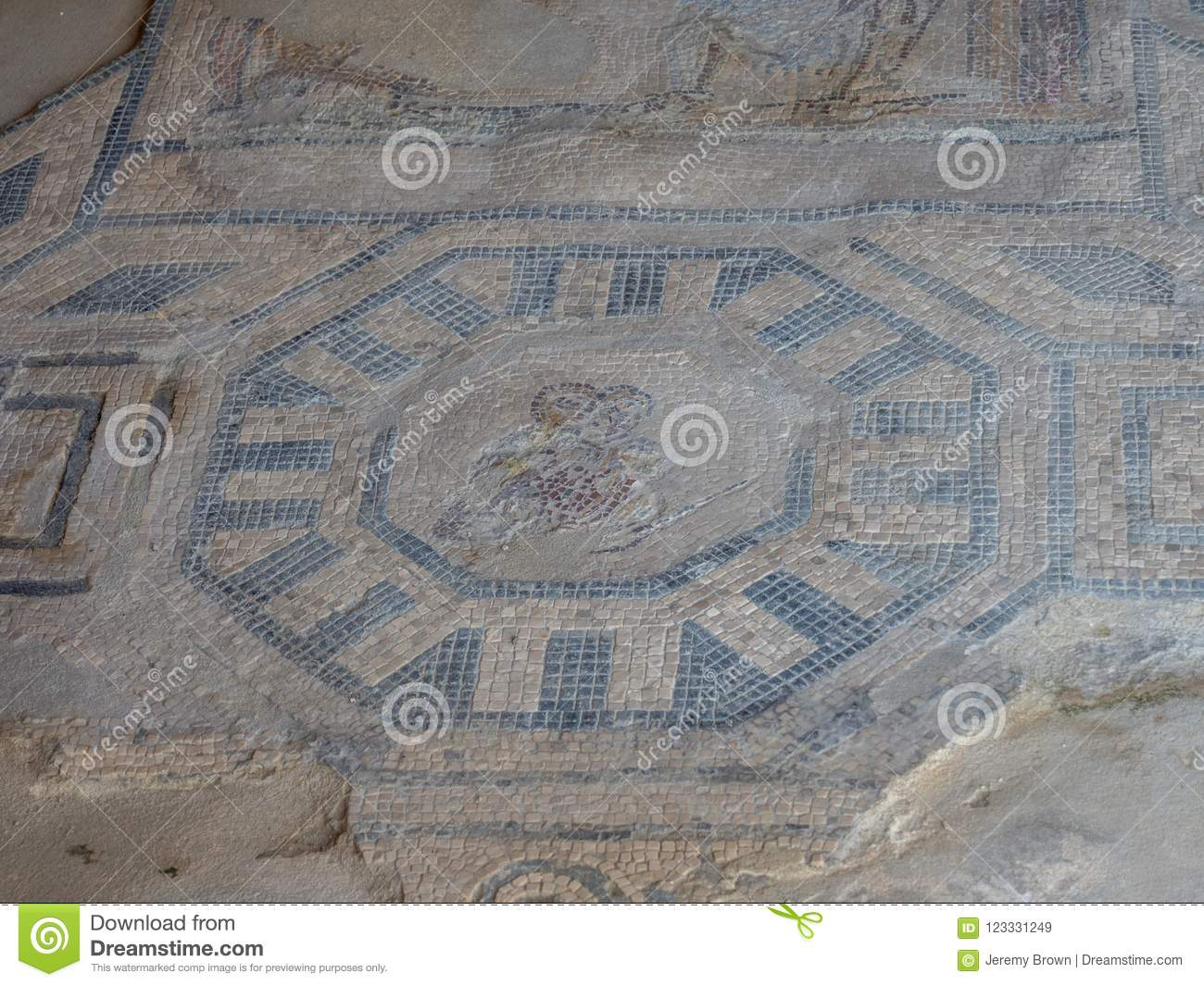 Download Archaeological Park Of Baia Mosaic Floors Stock Image