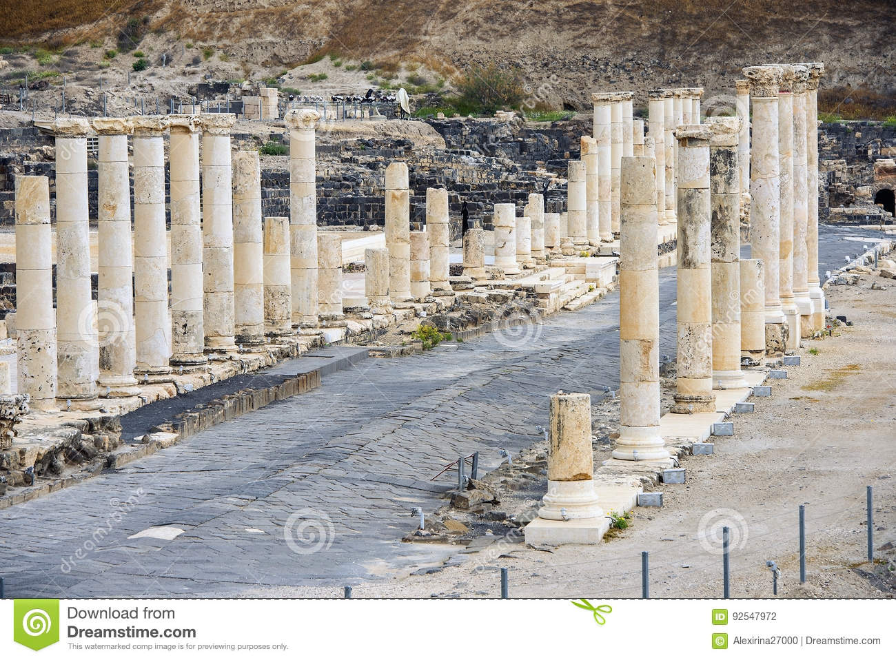 Beit Hebrew: Archaeological Site, Beit Shean, Israel Stock Photo