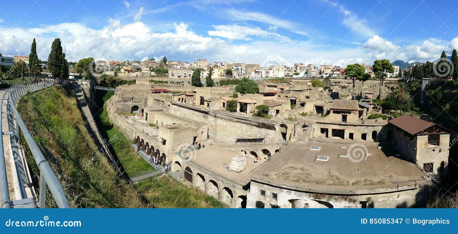 Archaeological site panorama - Herculaneum Vesuvius