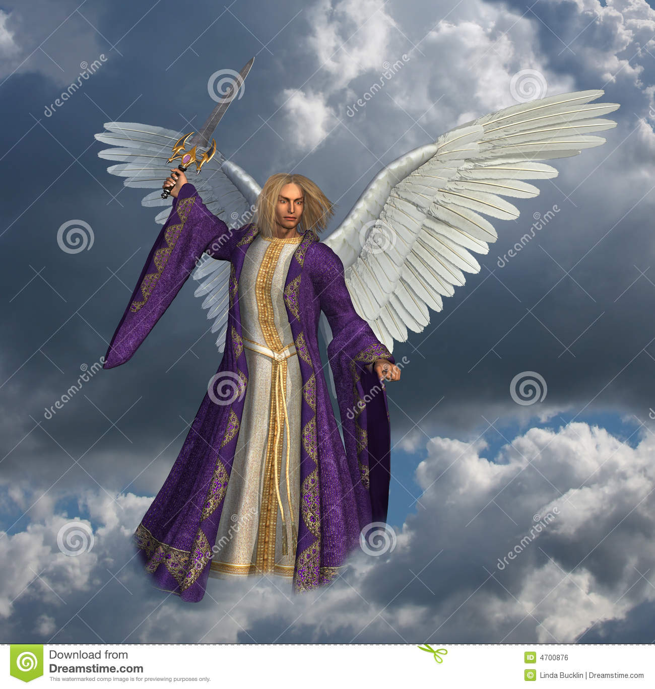 Archangel Micheal With Sky 2 Royalty Free Stock Image