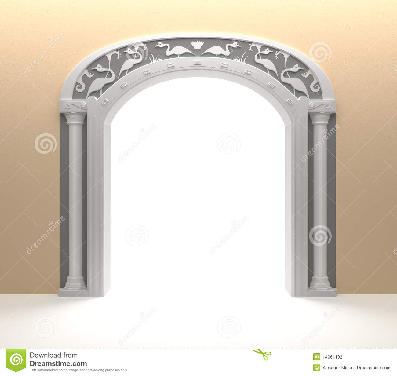 Arched door with vintage decoration stock photography for Antique door decoration