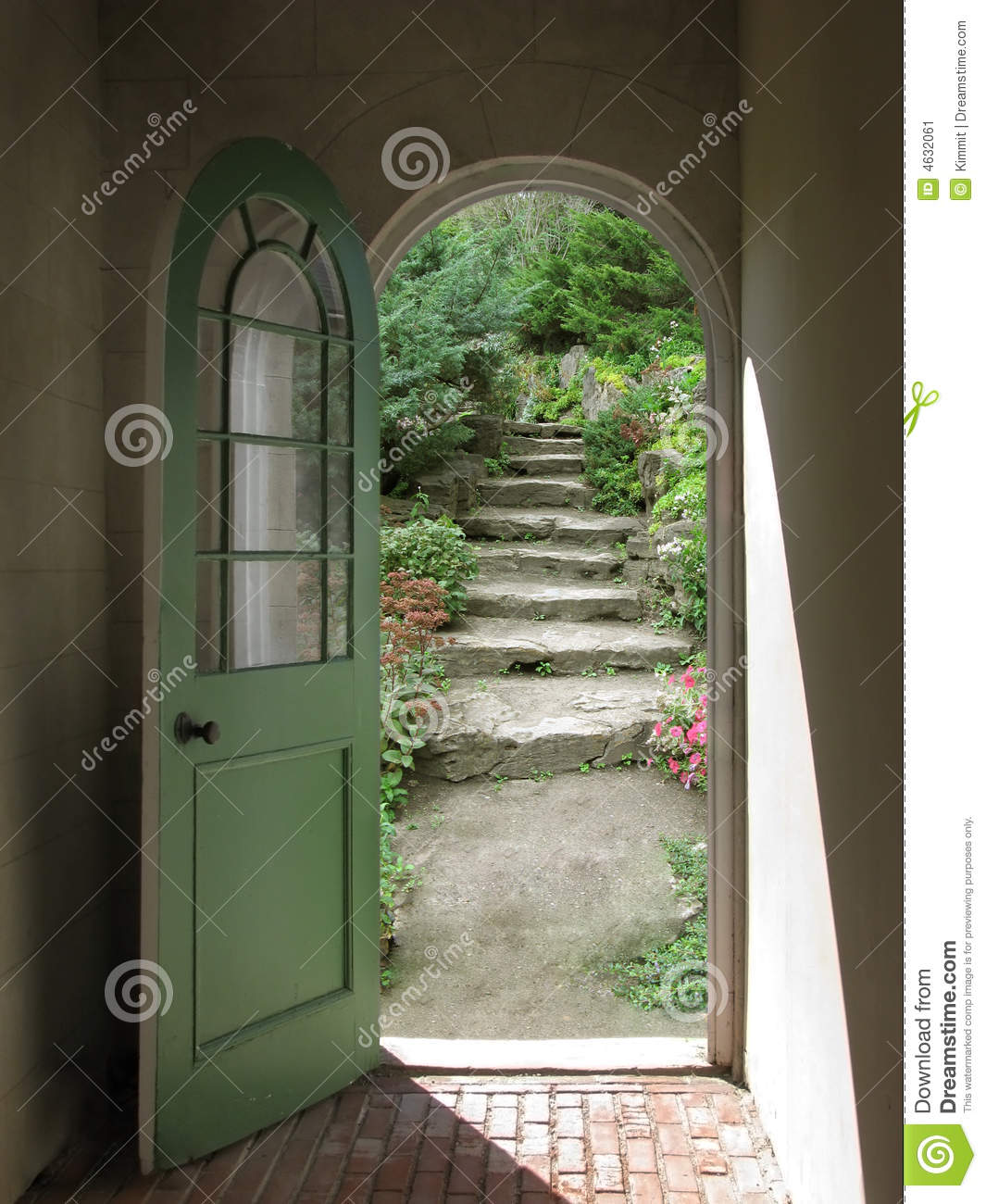 Arched Doorway Opening On Stone Garden Stairs With Sunlight Streaming