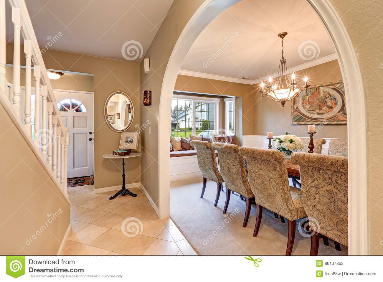 Arched Entry To Elegant Formal Dining Room