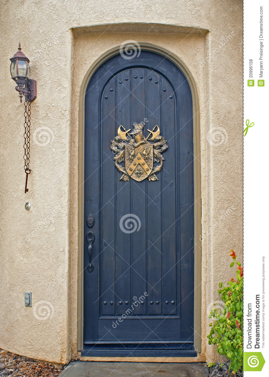 Arched Front Door On California Home Stock Photo Image Of Wood