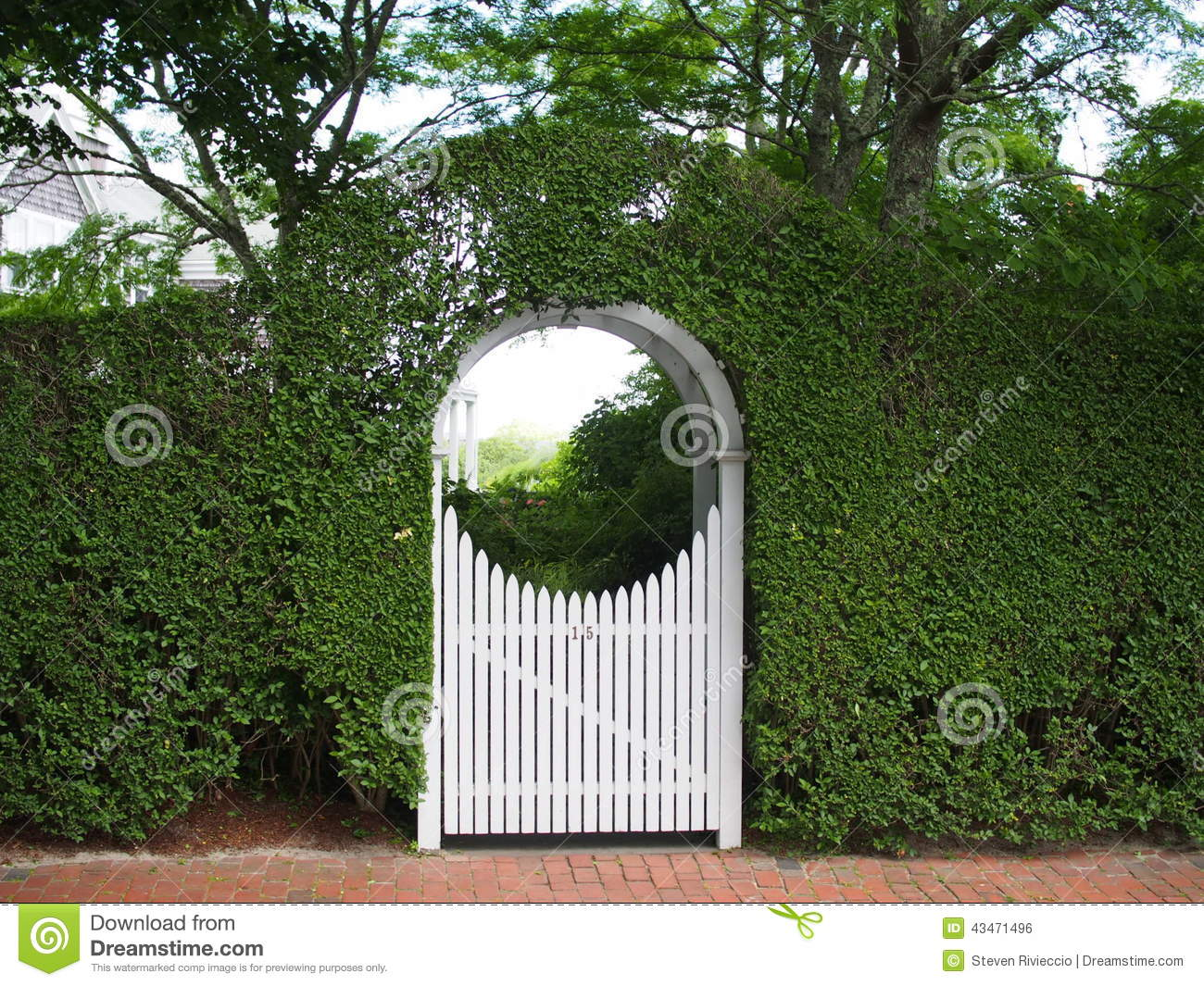 Picket Fence Gate With Arbor. Arched Garden Arbor And Gate Picket Fence With