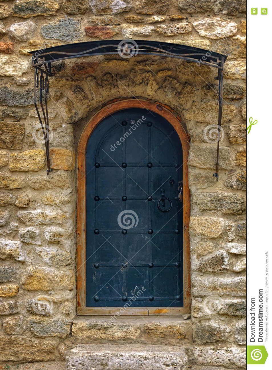 Medieval wooden gate with stone arch stock image for Door of stone
