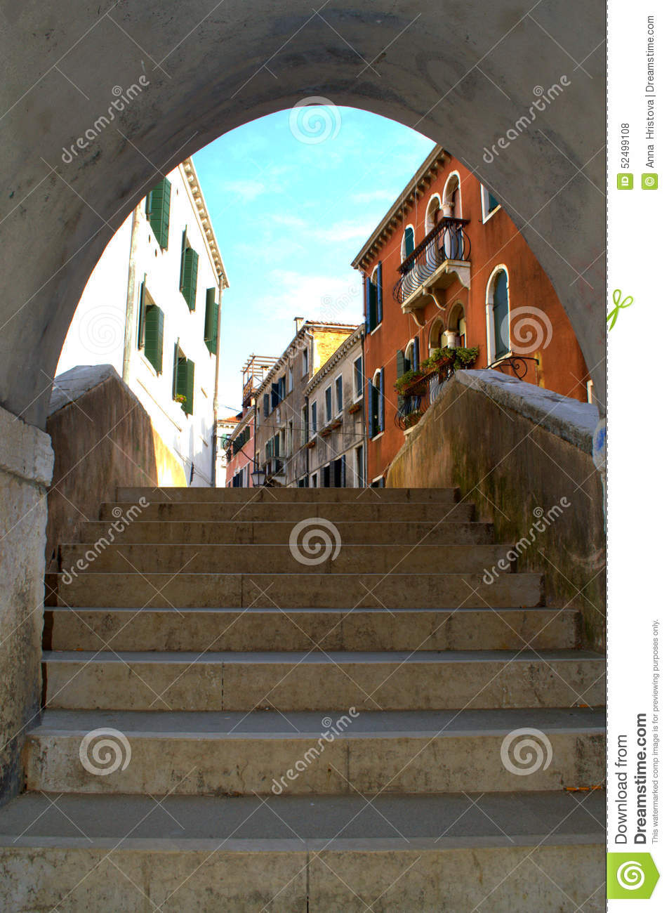 Download Arched Staircase Passage,Venice Stock Photo   Image Of Canal,  Stairs: 52499108