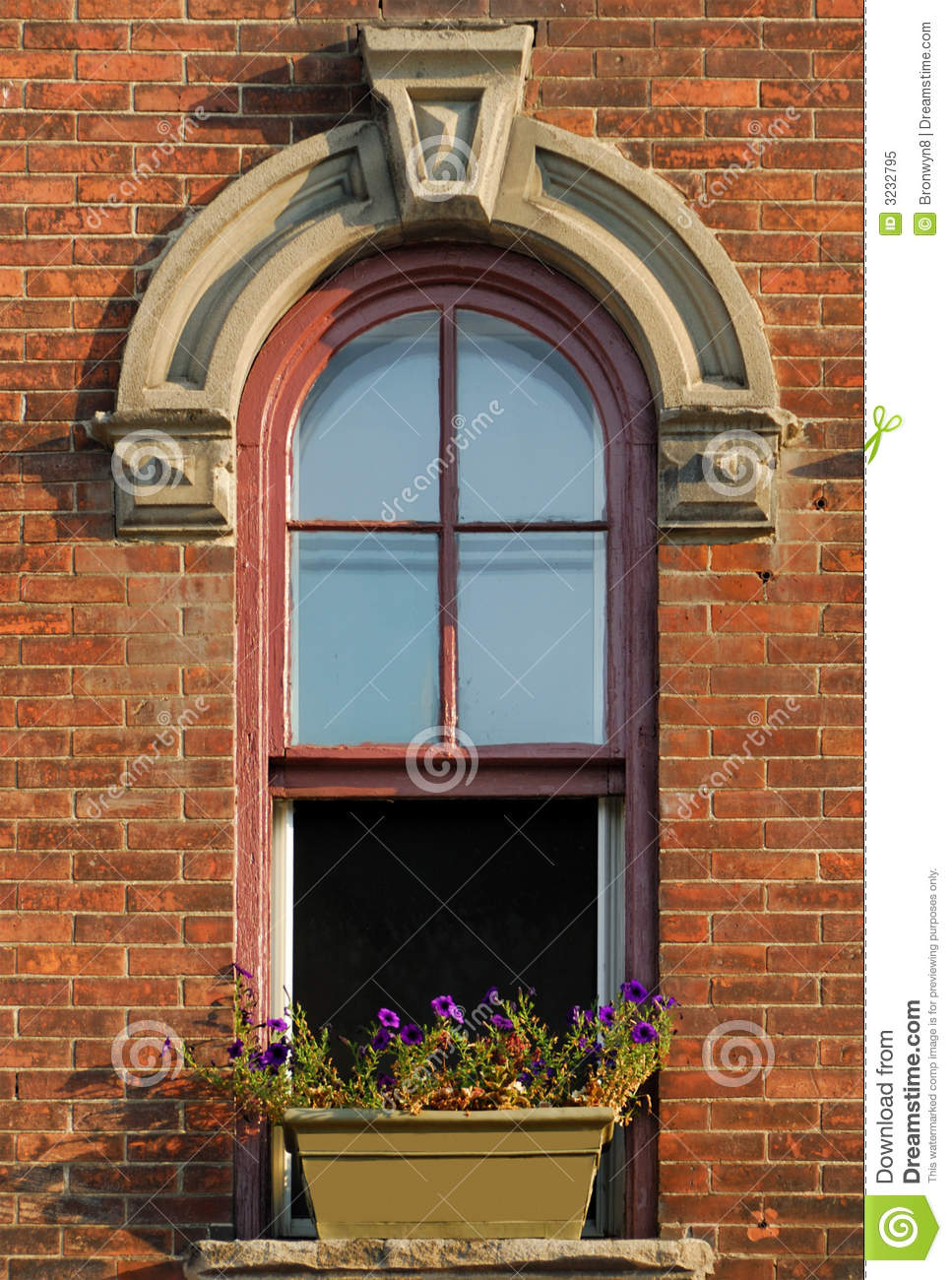 Arched Window Stock Image Image Of Flowers Cornice