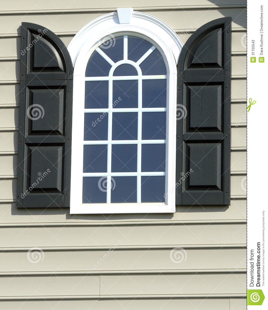 Arched Window With Black Shutters Stock Image Image