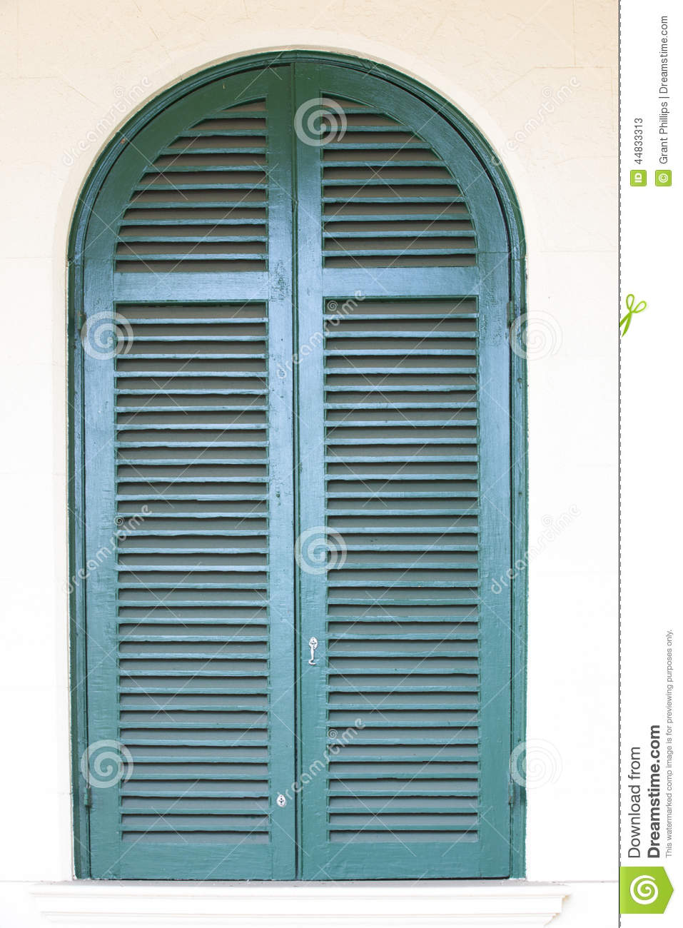Arched Window With Blue Shutters Stock Image Image 44833313