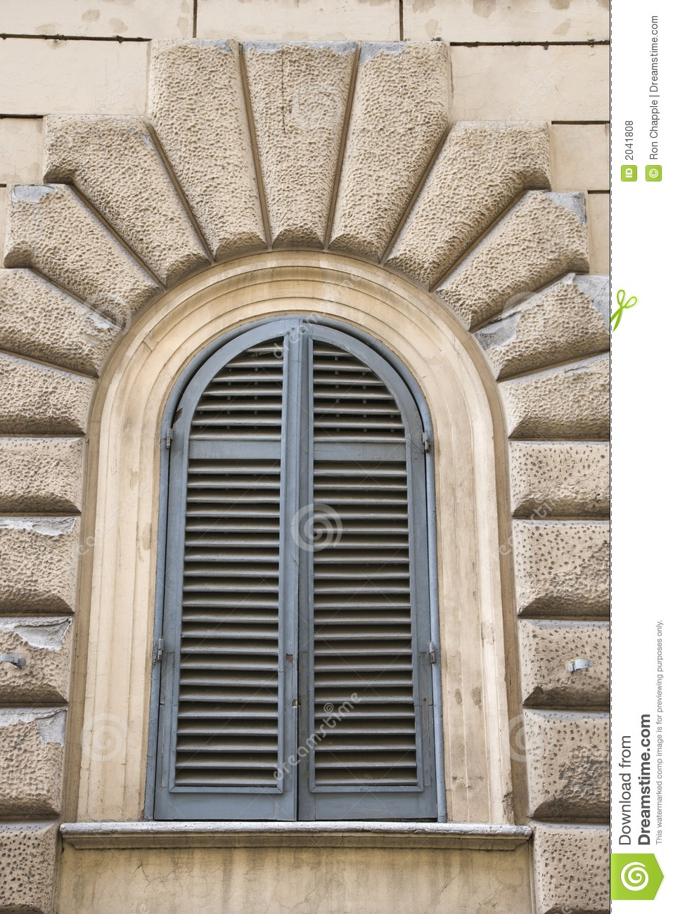 Arched Window Closed Shutters Italy Royalty Free Stock