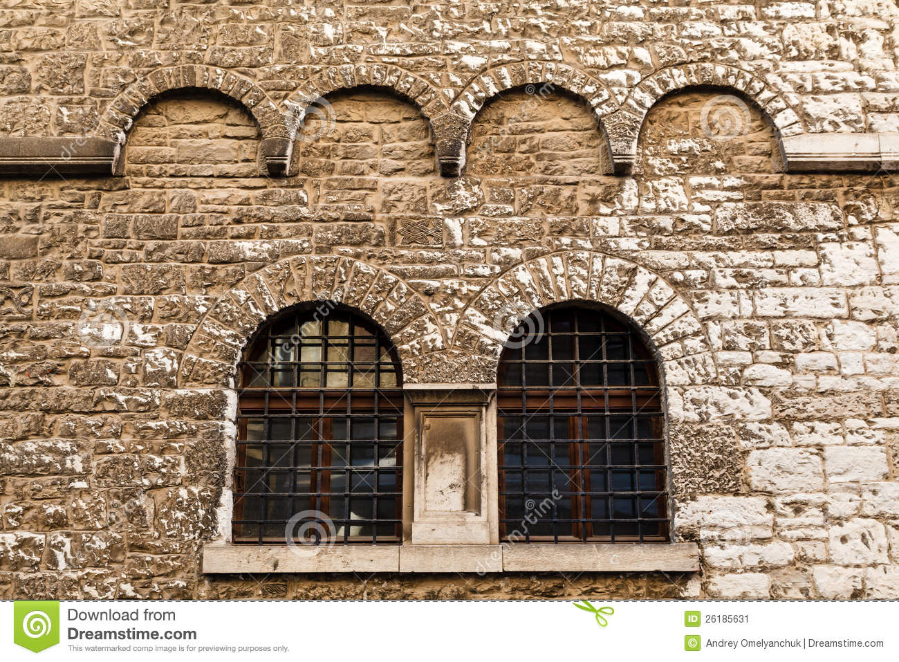 Arched windows in ancient house in pula stock image - Houses with arched windows ...