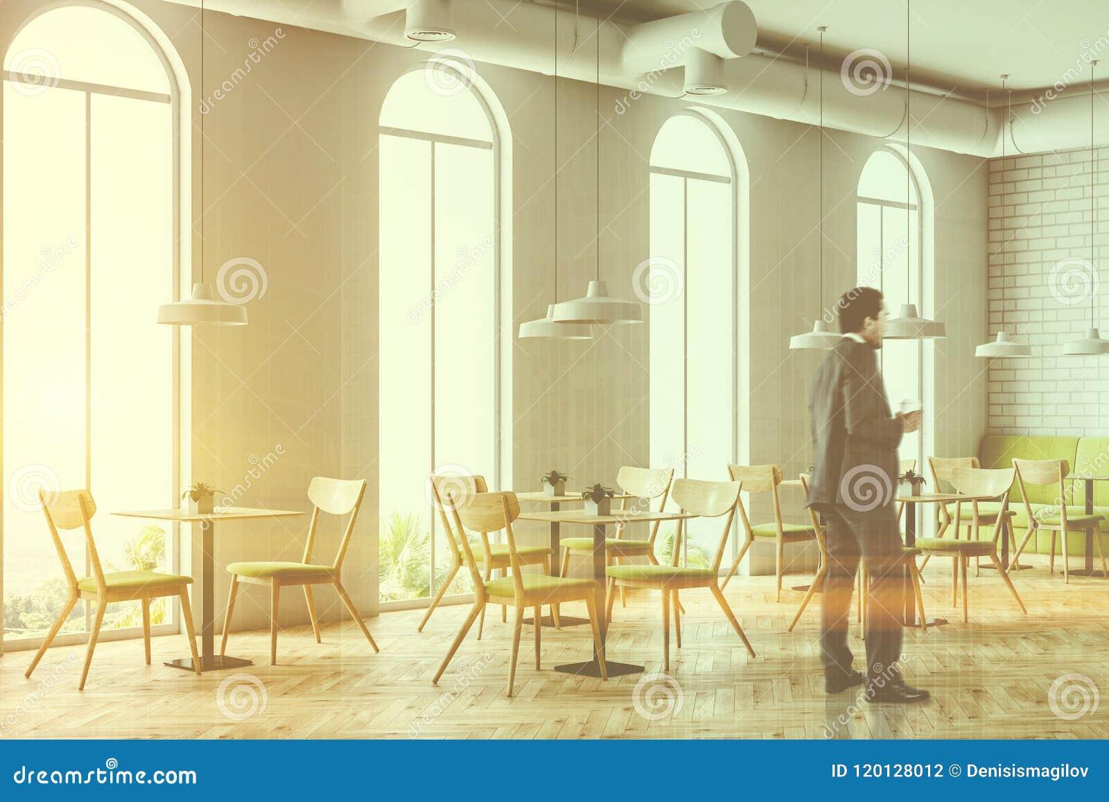 Arched Windows White Brick Cafe Corner Businessman Stock ...