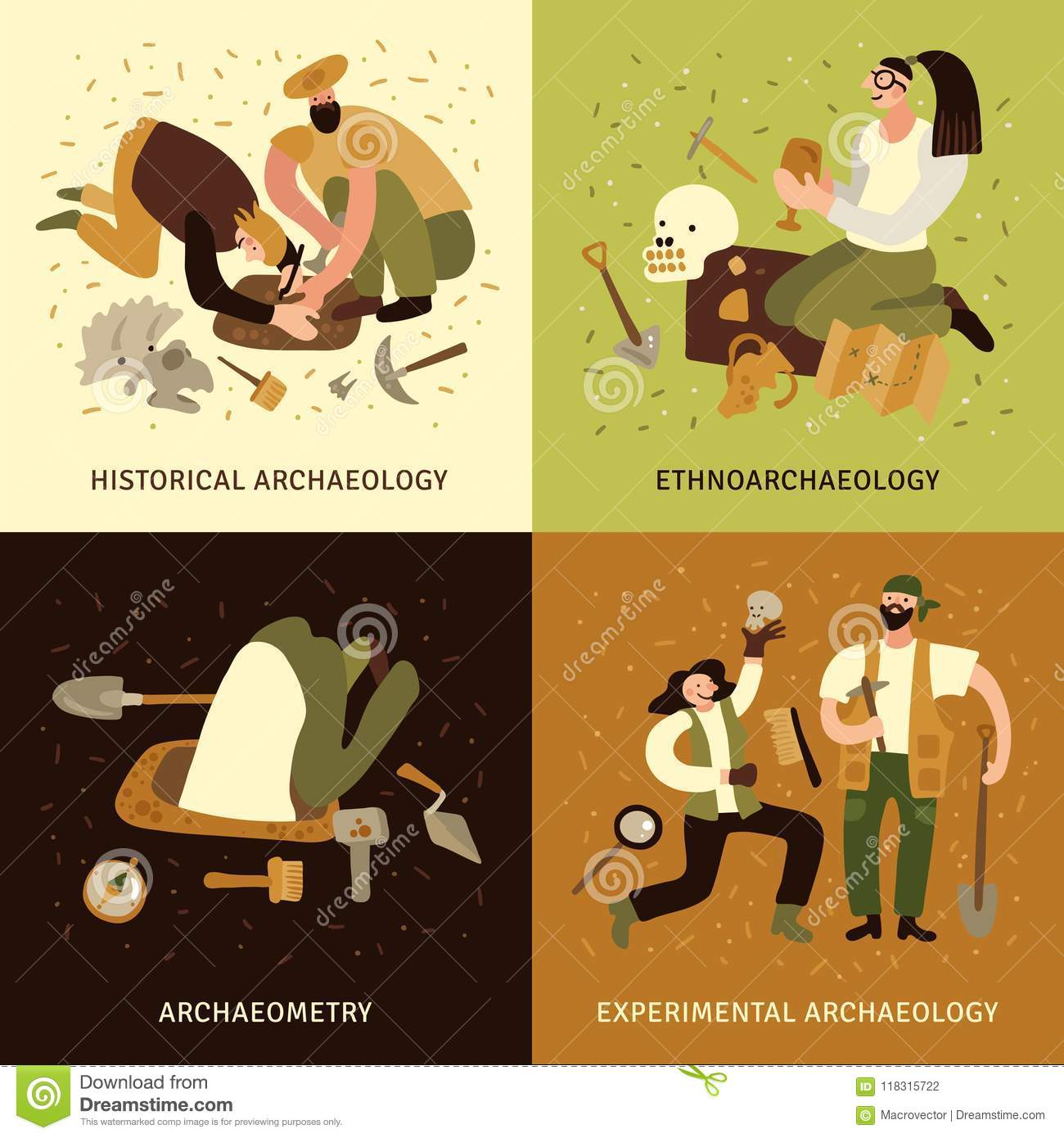 Archeology Concept Icons Set Stock Vector Illustration Of
