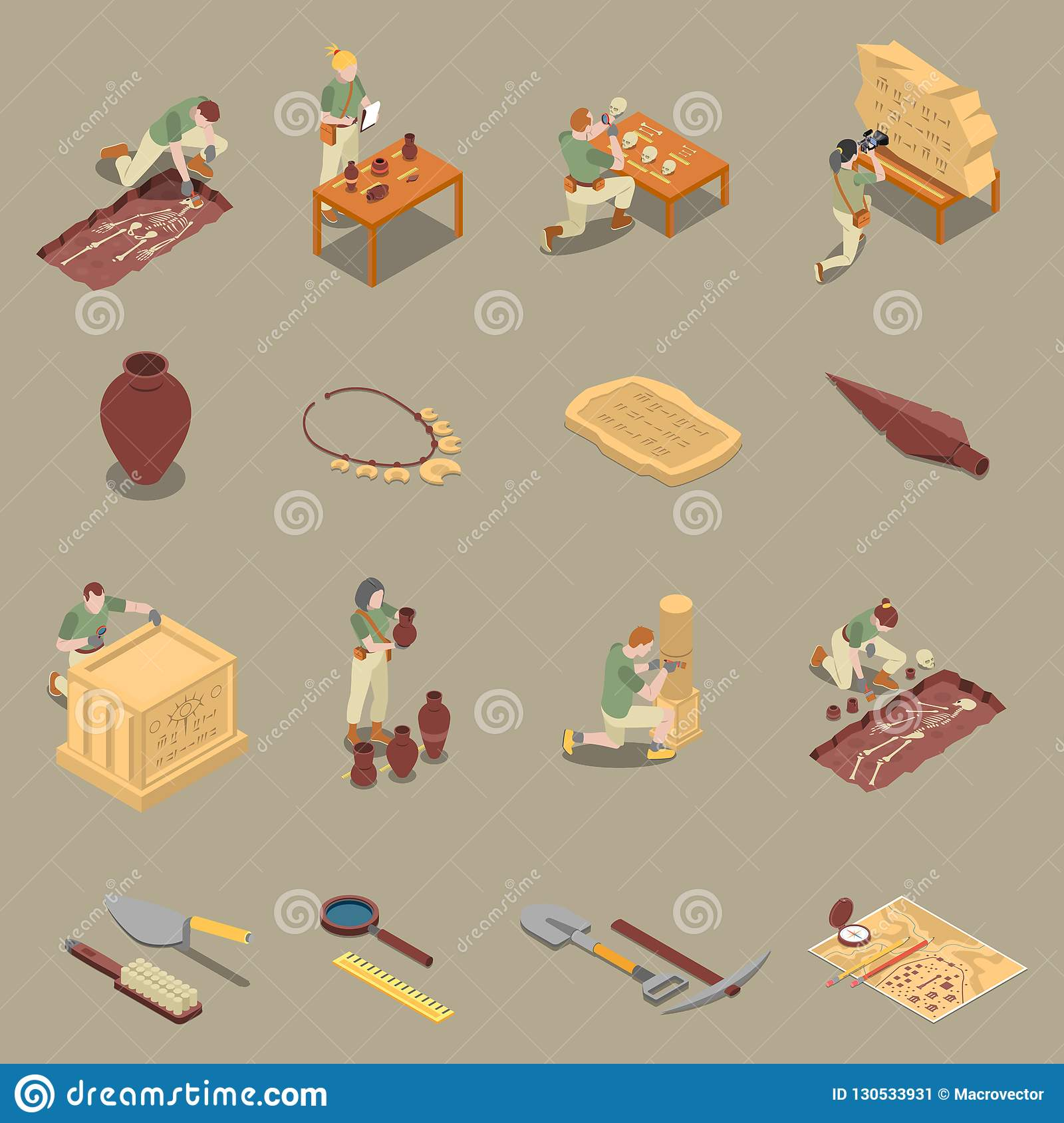 Archeology Isometric Icons Set
