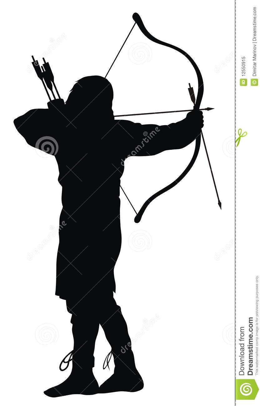 Abstract vector illustration of ancient archer silhouettes.