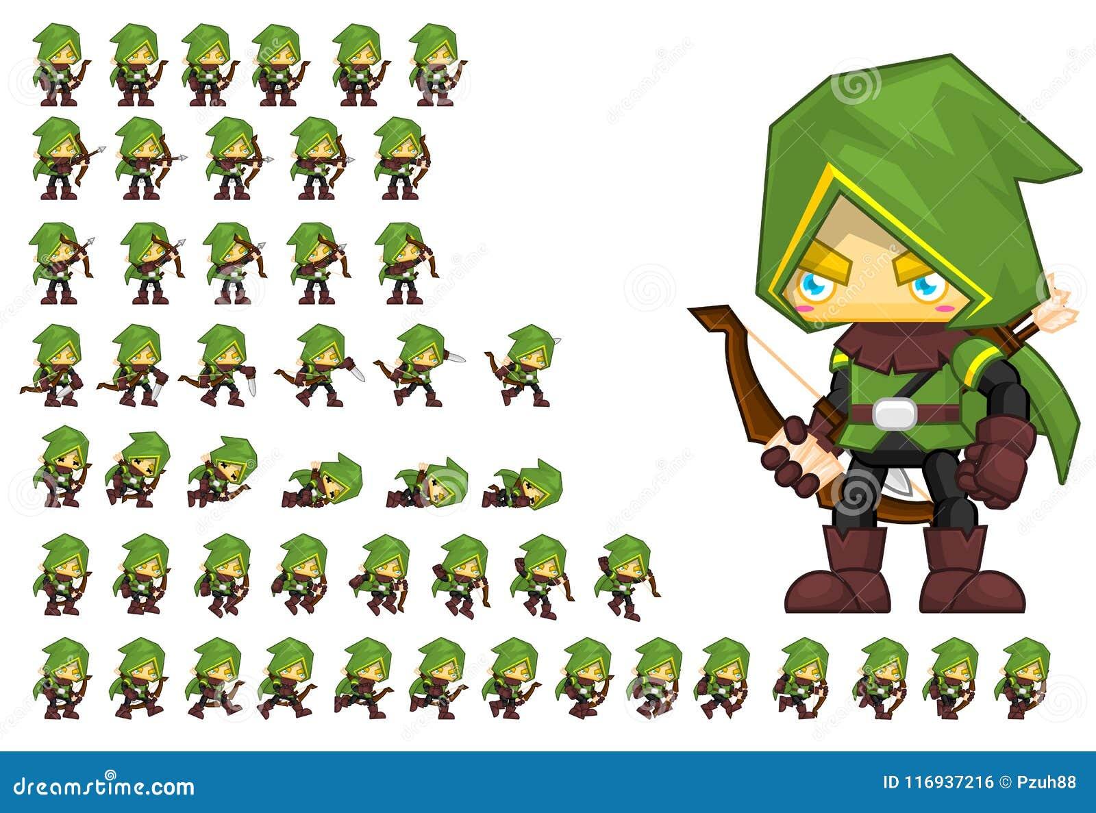 Download archer animé character sprites illustration de vecteur illustration du costume imagination 116937216