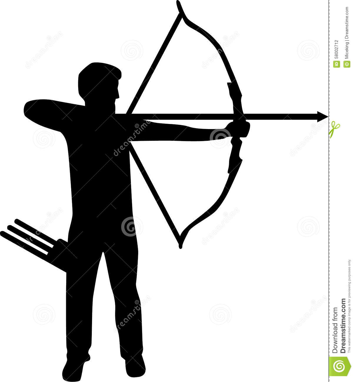 Real Archer Silhouette shooting with bow and arrow.