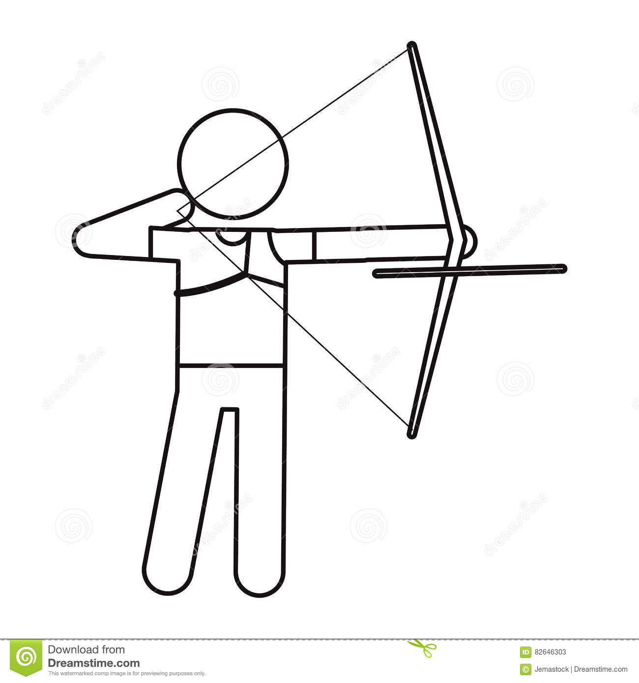 Archery Player Aiming Bow Game Outline Stock Vector Illustration - Game outline