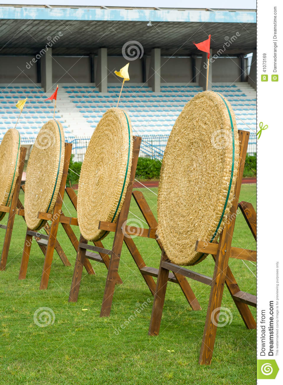 Archery Straw Empty Targets On Green Field Stock Photo ...
