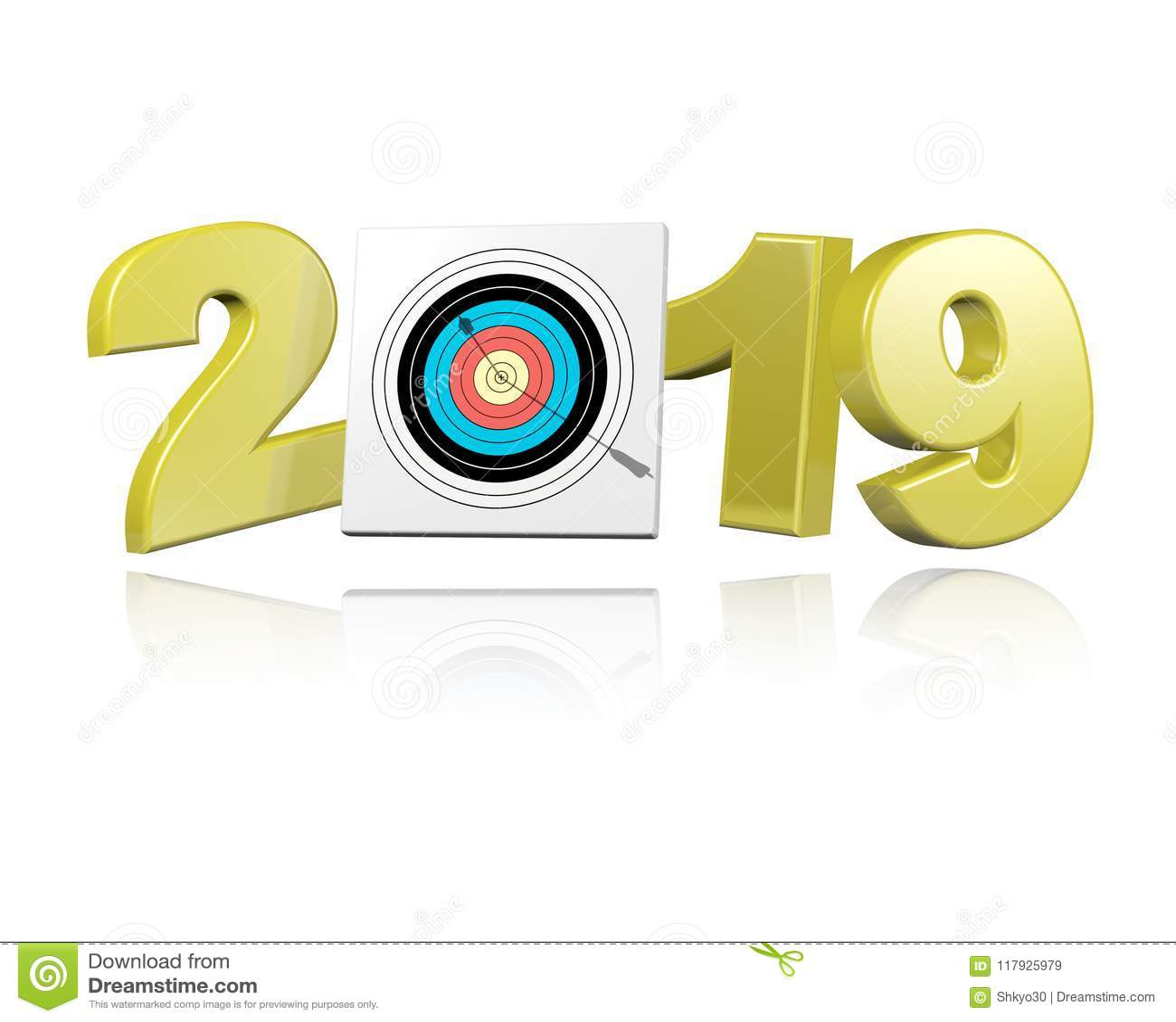 Archery Target With Arrow 2019 Design Stock Illustration
