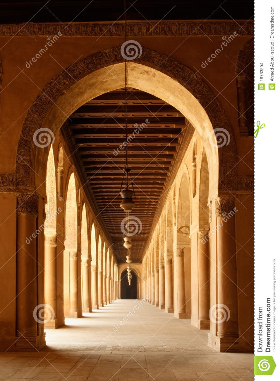 Arches of Ahmad Ibn Tulun Mosque in Cairo, Egypt