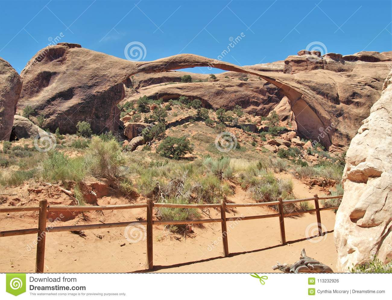 Landscape Arch At Arches National Park In Utah Stock Photo - Image