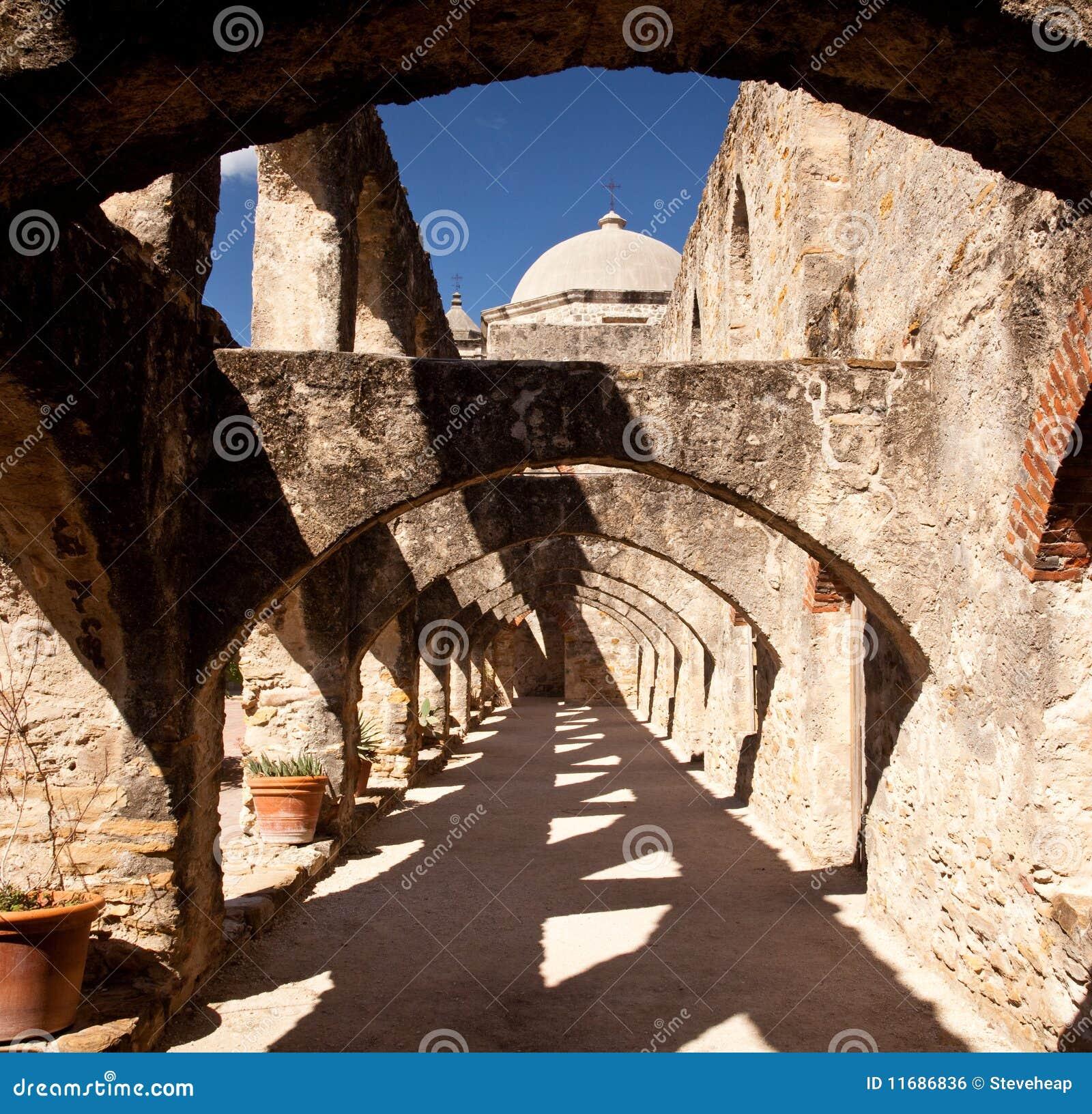 Arches of San Jan Mission near San Antonio
