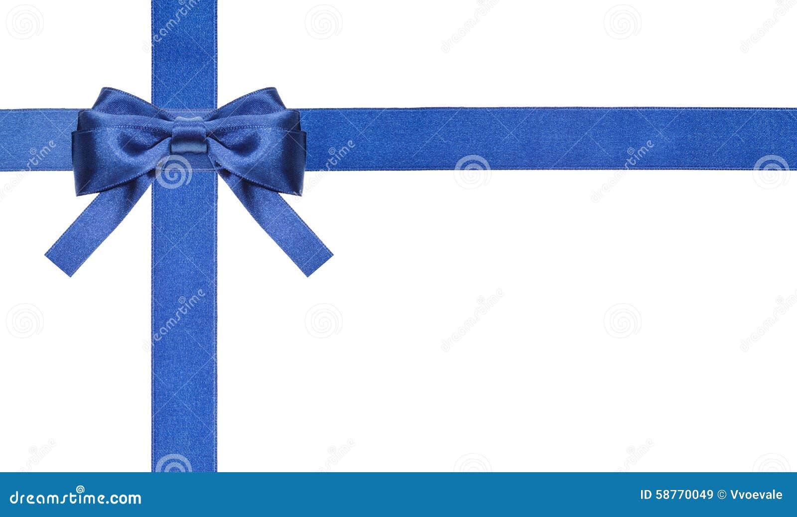 Archi blu e nastri del raso isolati - insieme 2
