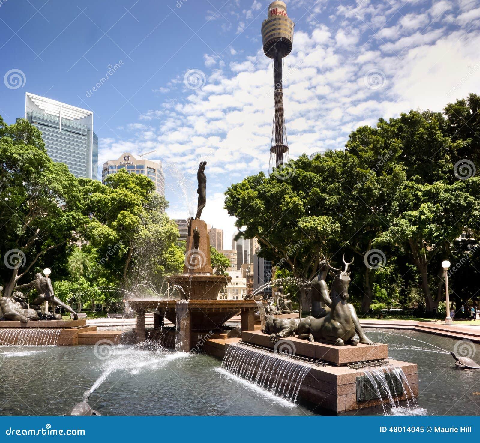 Water fountains hyde park - Hyde Park Sydney Archibald Fountain Sydney Australia Royalty Free Stock Photo