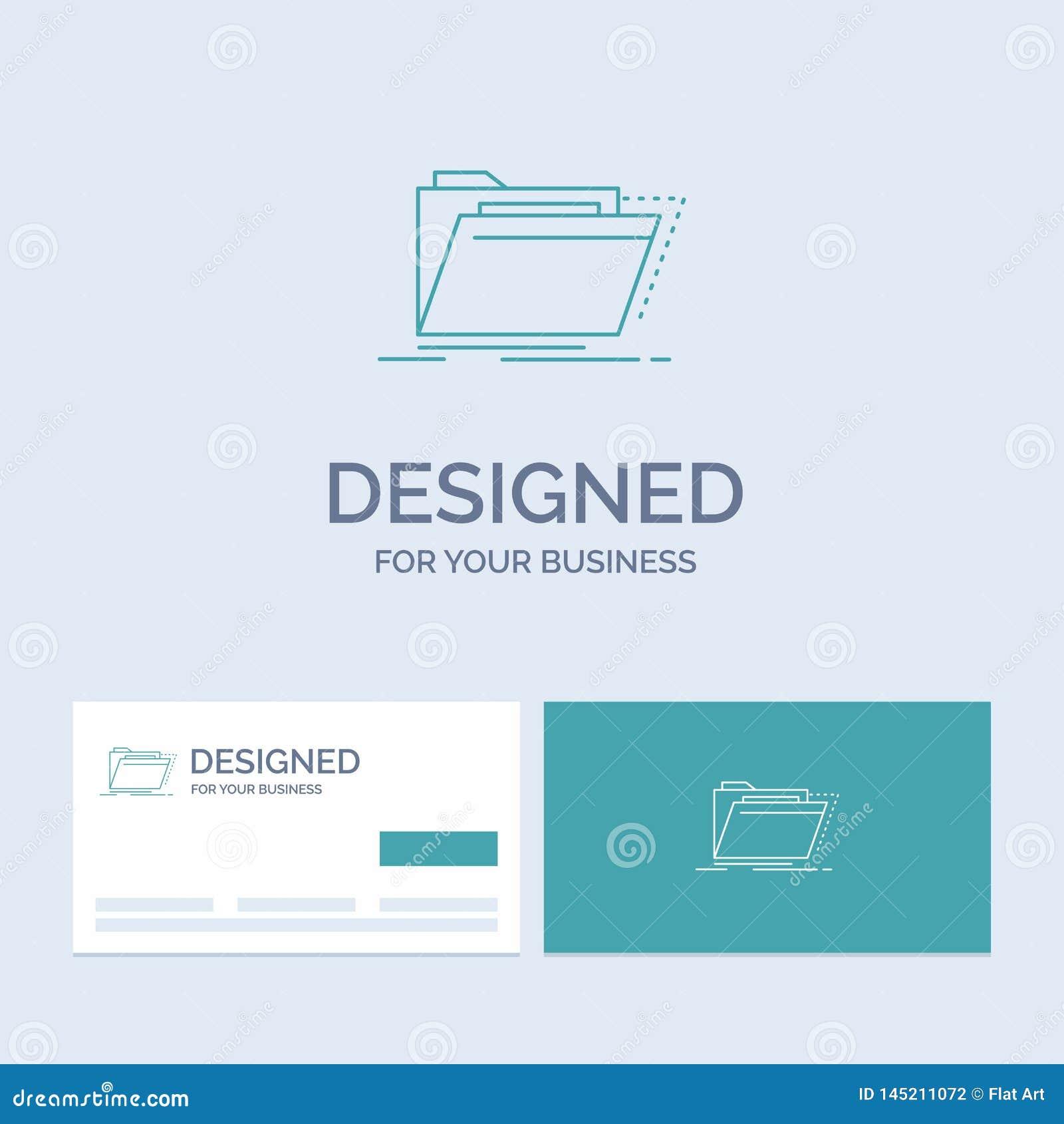 Archief, catalogus, folder, dossiers, omslagzaken Logo Line Icon Symbol voor uw zaken Turkooise Visitekaartjes met Merk