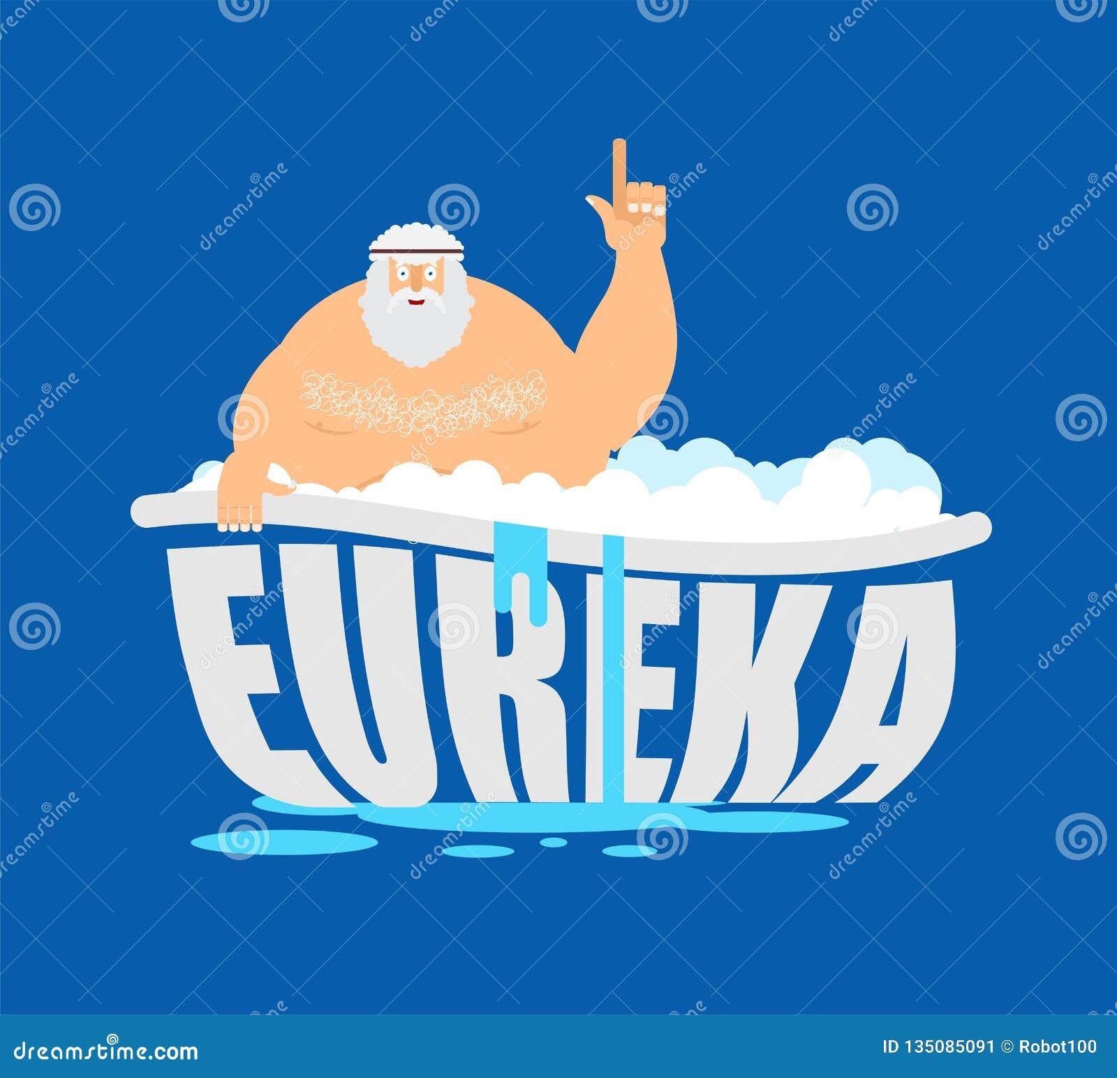 Archimedes in bad Beduimelt omhoog eureka oude Griekse wiskundige, de ontdekking van fysicusGreat