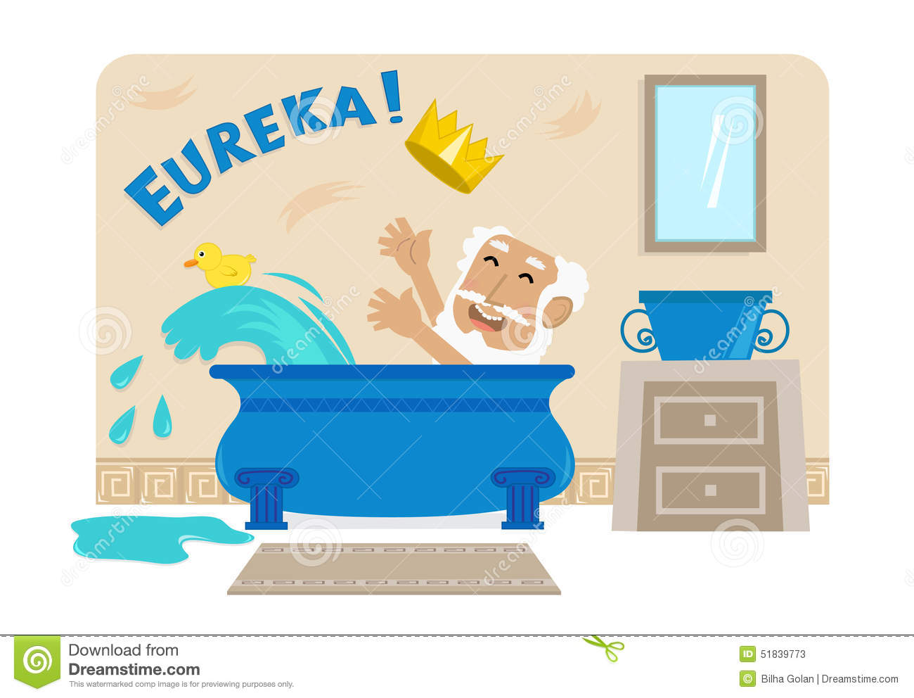 Cartoon illustration of Archimedes in his bathtub with the golden ...
