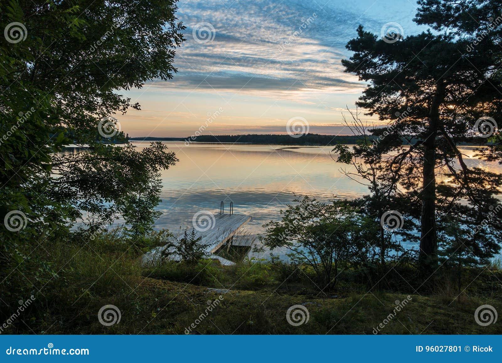 Archipelag na morza bałtyckiego wybrzeżu w Szwecja
