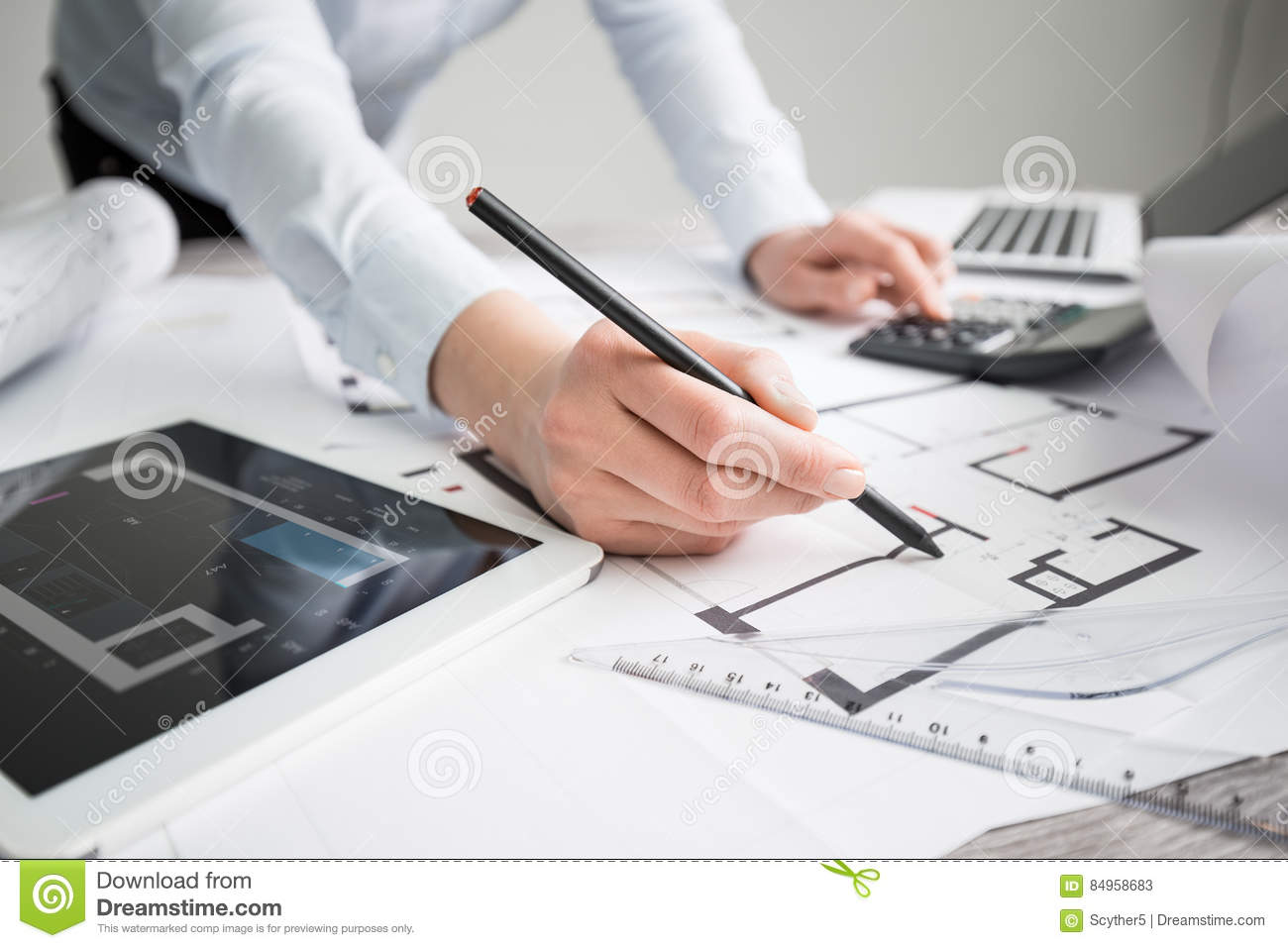 Architect architecture drawing project blueprint working design royalty free stock photo malvernweather Gallery
