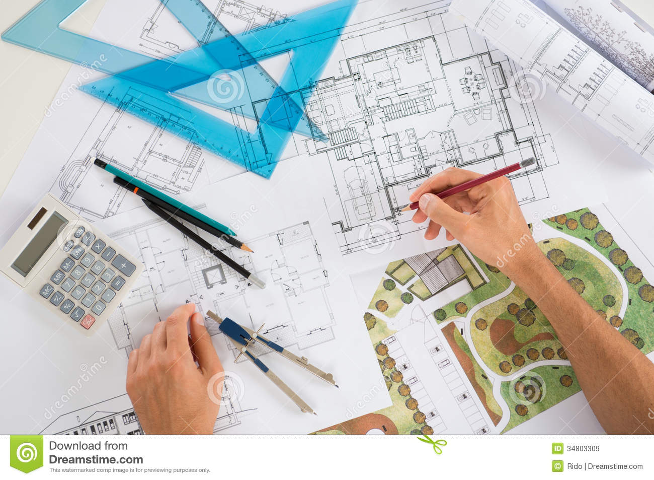 Architect with blueprints stock image image of for Online architecture drawing