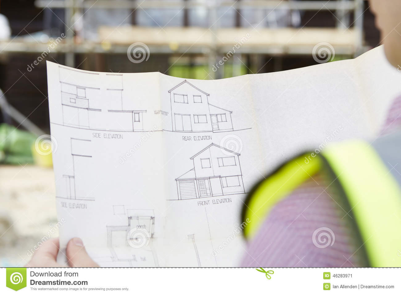 Residential building on plans stock photography for Looking for an architect to design a house