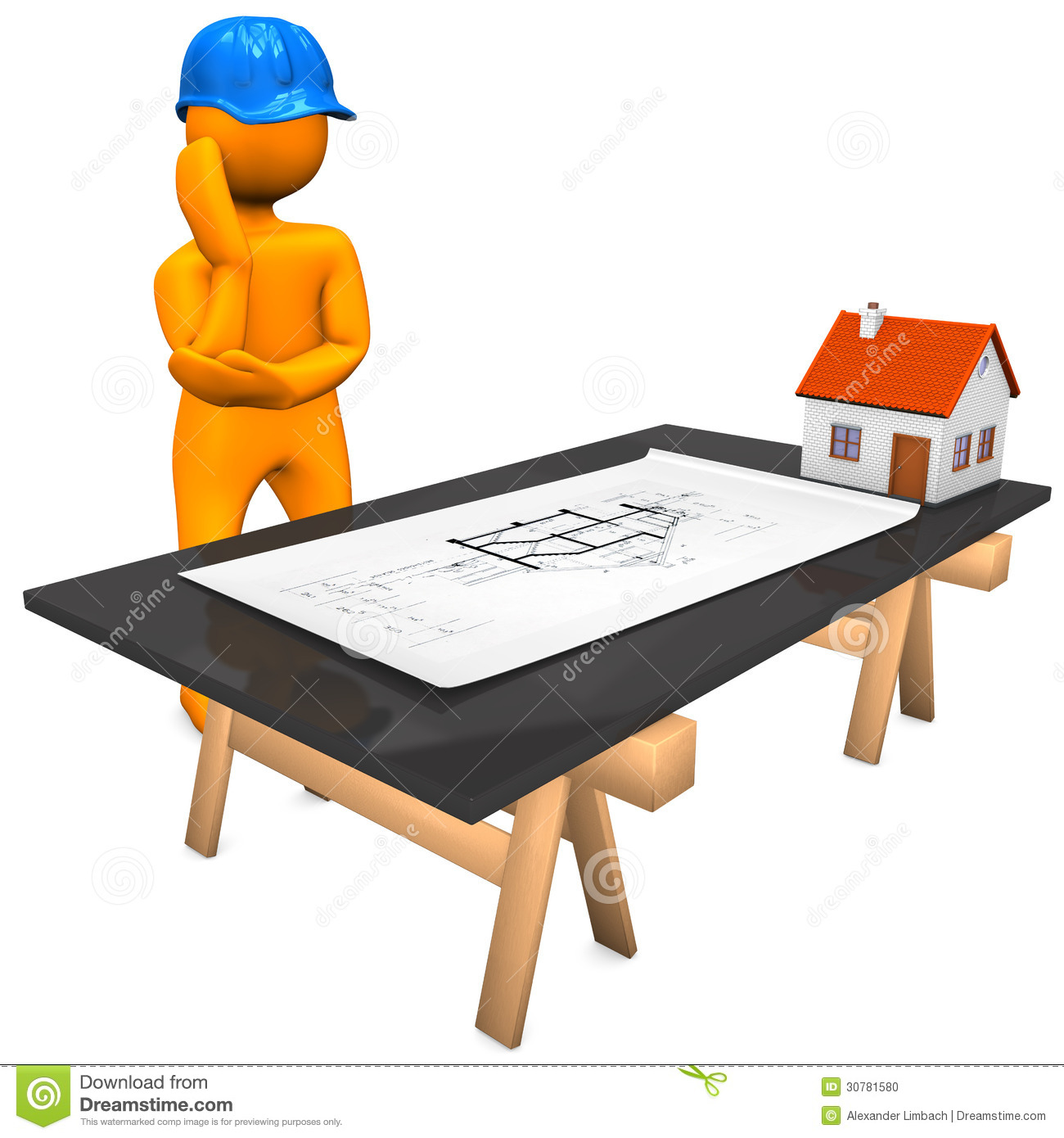 Architect construction plan stock illustration image for Architecte plan maison