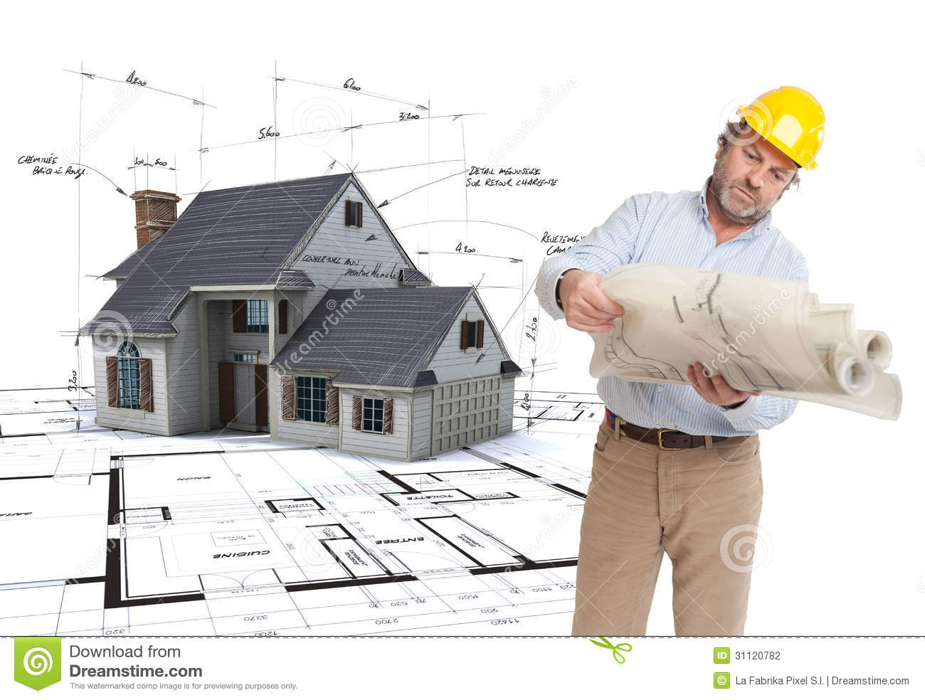 architect consulting his plans stock photography image