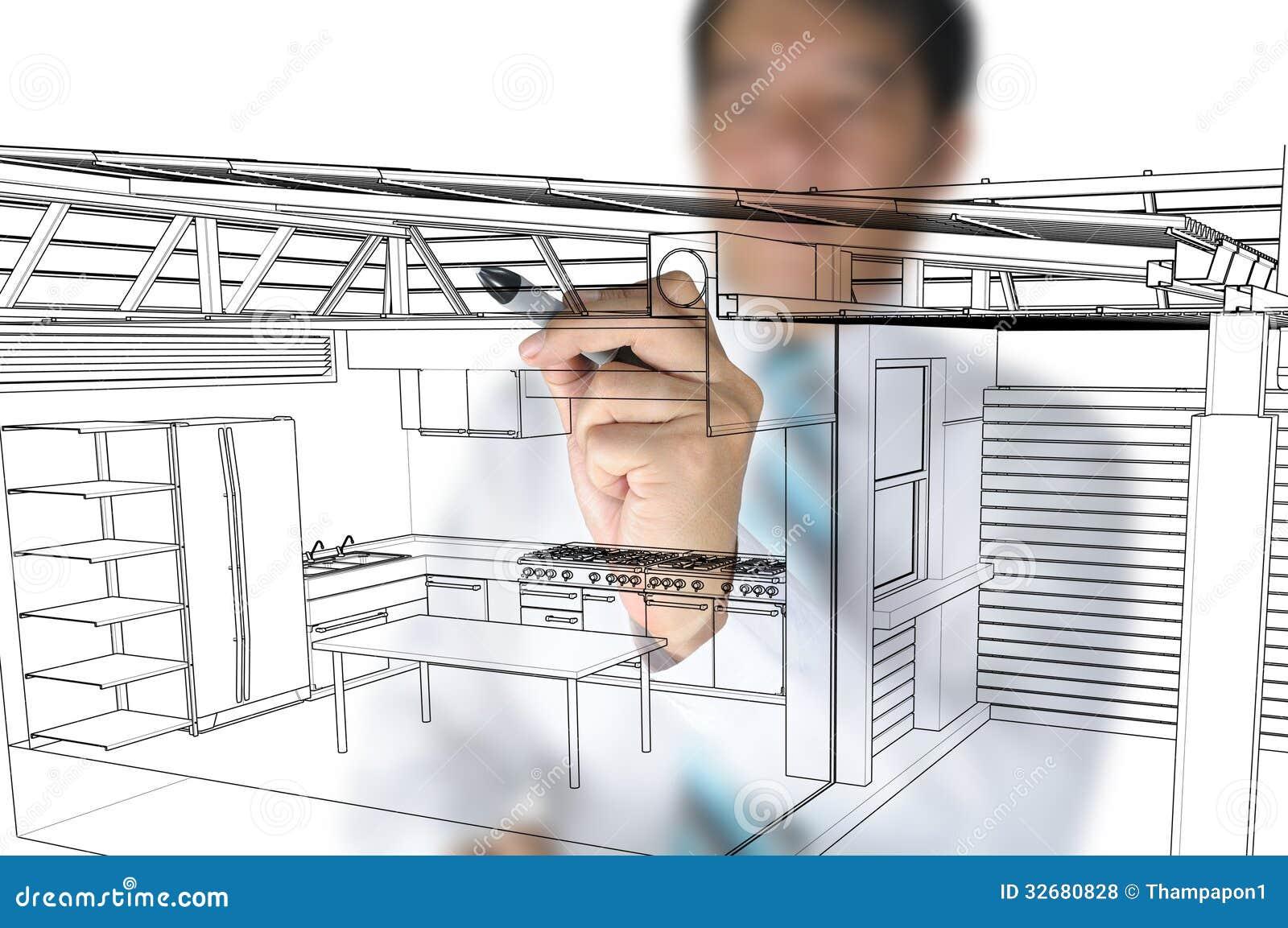 Architect design home kitchen royalty free stock photos image 32680828 - Architect kitchen design ...