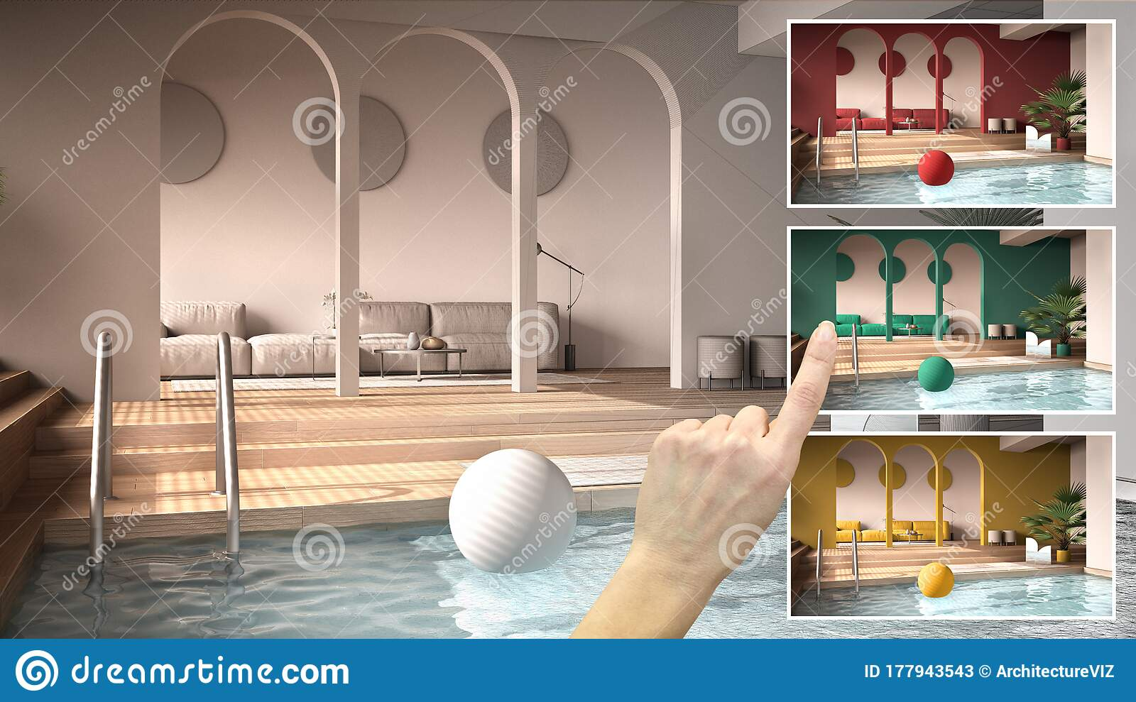 Architect Designer Concept Hand Showing Minimalist Living Room With Swimming Pool Colors In Different Options Interior Design Stock Image Image Of Material Home 177943543
