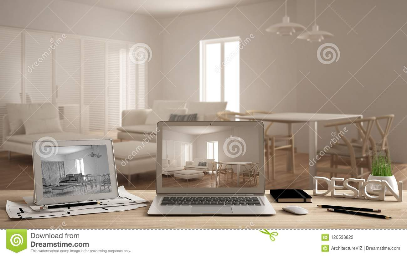 Architect designer concept, laptop and tablet on wooden work desk with screen showing interior design project and CAD sketch, blur