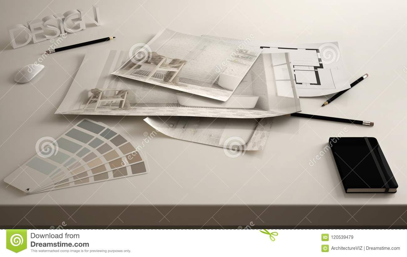 Architect designer concept, table close up with interior renovation draft, bathroom interior design blueprint drawings, sample col