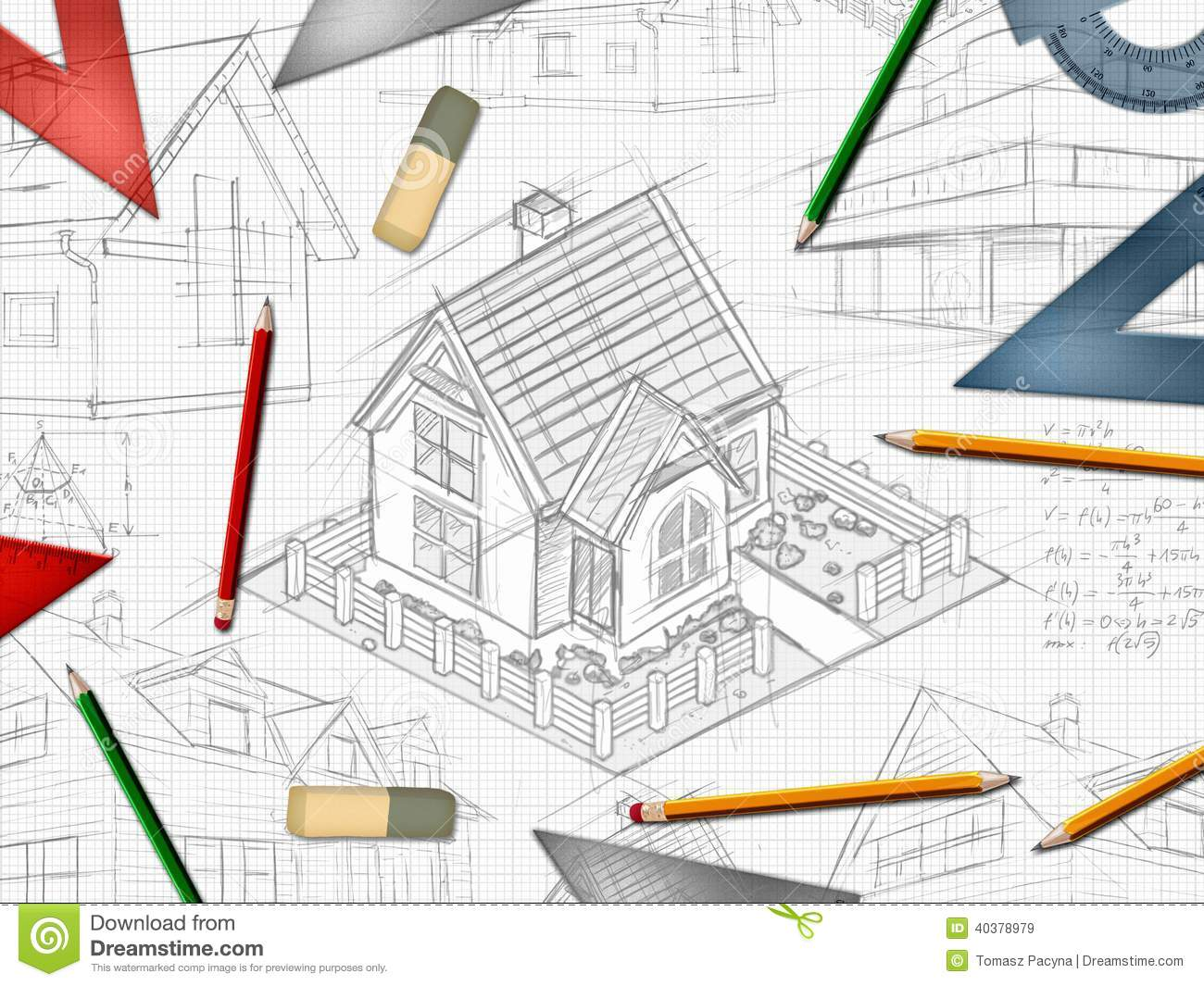 Architect designer desktop background stock illustration for Designer or architect