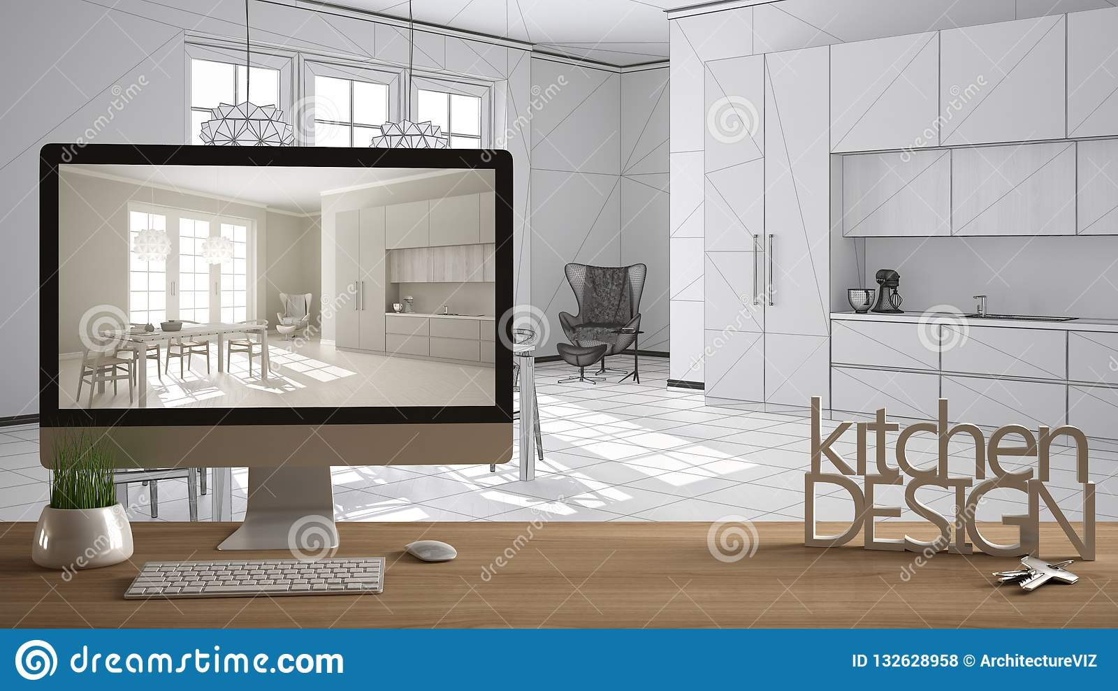 Architect designer project concept, wooden table with house keys, 3D letters words kitchen design and desktop showing draft, bluep