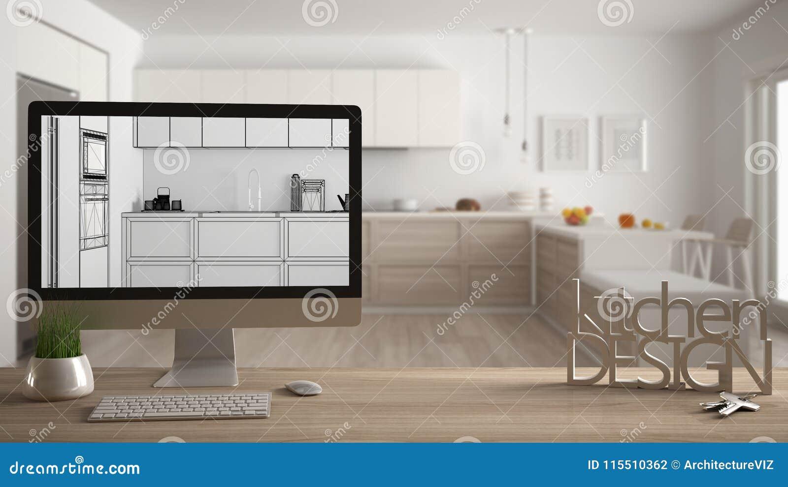 Architect designer project concept, wooden table with house keys, letters kitchen design and desktop showing blueprint CAD sketch,